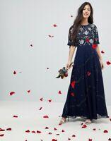 BRANDED WEDDING FLUTTER SLEEVE EMBELLISHED MAXI DRESS, NAVY(CH 2)
