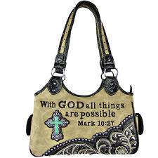 TAN BIBLE VERSE STUDDED RHINESTONE CROSS LOOK SHOULDER HANDBAG HB1-CHF1110TAN