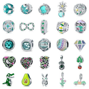Women 925 Sterling Silver Charms Green Beads Pendants Fits European Necklaces