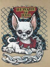 Vintage Mens L 1995 Alien Chihuahua LIfeForms Beware of Dog Scary Mexico T-Shirt
