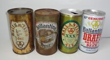 4 Ballantine Beer Flat Top Beer Cans 2 Pull tabs Anniversary can 1965