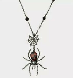 """NEW BETSEY JOHNSON GLAMPIRE SPIDER /WEB LONG PENDANT RED 32""""LONG NECKLACE"""