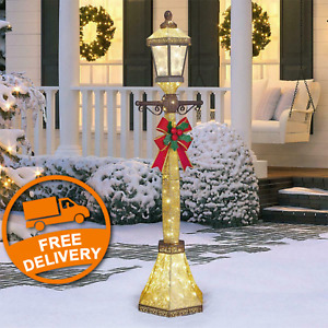 6ft (1.8m) Christmas Street Lamp & Bow with 120 LED Lights
