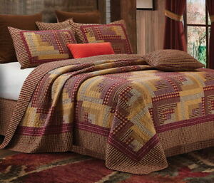 MONTANA RED LOG CABIN 3pc King QUILT SET : COUNTRY PLAID CHECKS LODGE CHECKED