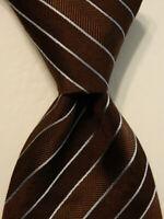 GIORGIO ARMANI Men's 100% Silk Necktie ITALY Luxury STRIPED Brown/Blue EUC