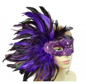 Mardi Gras Women Costume Mask Masquerade Side Feathers Venice Carnival Venetian
