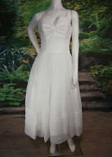 FANCY BRIDAL NY WEDDING GOWN DRESS RUFFLED 6 POCKETS TEA SHORT VINTAGE INSPIRE
