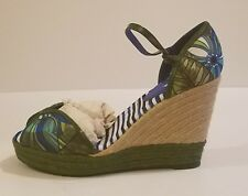 NWOB Desigual Women's Floral Espadrille Wedge  Sandals Green  41 As is