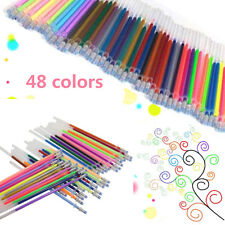 48 Colors Set Gel Pen Glitter Coloring Drawing Painting Craft Markers Stationery