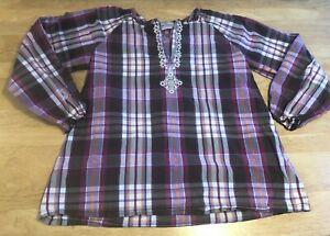 Hanna Andersson 140 Plaid Tunic Sz 10 Purple Brown Long Sleeve Girls Cotton