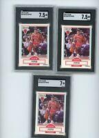 (3) Card Lot 1990-91 Fleer #30 Scottie Pippen SGC 7 & 7.5 NM Graded
