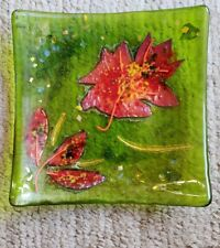 """Square Plate Art Glass Decorative With Leaf Design Signed 6 5/8"""" square #0196"""