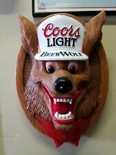 Vintage Coors Light Beer Wolf 1987 3D Wall Bar Plaque Sign Plastic