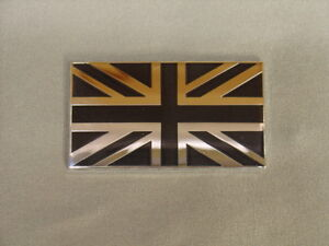 NEW MGA MGB TRIUMPH TR BLACK AND SILVER UNION JACK FLAG DECAL BADGE