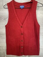 Pendleton Scarlet Red Cable Knit Wool Button Front Preppy Sweater Vest Wms Small