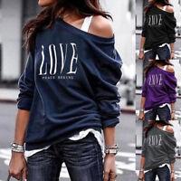 Ladies Women Letter Print Long Sleeve Pullover Sweatshirts Loose Fit Tops Blouse