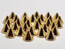 500 Gold Tone Metallic Rock Punk Spike Rivet Acrylic Taper Stud Beads 12X10mm