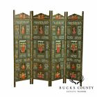 Vintage Polychrome Hand Painted Indian 4 Panel Folding Dressing Screen
