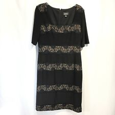 Adrianna Papell Cocktail Dress Black Lace over Nude Stretch Short Sleeve Sz 12