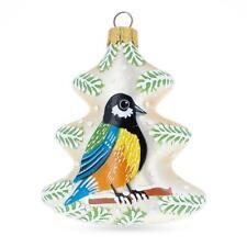 Bird On The Christmas Tree Glass Christmas Ornament