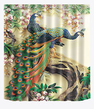 100% Polyester Bathroom Decor Shower Curtain Peacock +Hooks Ring set  71X71""