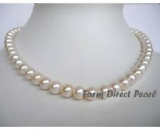 """16"""" Inch Choker Genuine 8-9mm White Pearl Necklace Cultured Freshwater"""