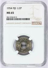1954 Fiji 1/2 Half Penny Coin - NGC MS 65 Graded - KM# 20
