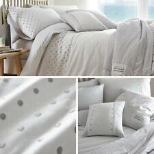 Grey Duvet Covers Polka Dot Stripe Reversible White Quilt Cover Bedding Sets
