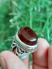 Yemeni Red AQEEQ Silver Ring Akik hakik Agate Sterling Silver SUFI Men Ring