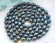 "New 8-9mm New Tahitian Black Natural Pearl Necklace 34"" AAA"
