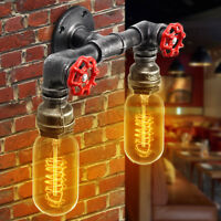 Vintage Industrial Iron Water Pipe Wall Light Steampunk Sconce Light Fixture E27