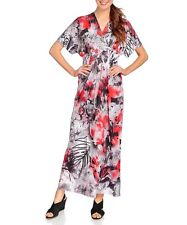 ONE WORLD WOMEN'S MULTICOLOR FLORAL EMBELLISHED SHORT SLEEVE MAXI DRESS Sz 3X