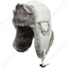 Faux Fur and White Canvas Ushanka - Winter Ski Nordic Russian Cap Trapper Hat