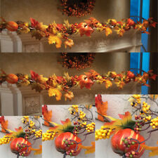 1.8M LED Lighted Fall Autumn Pumpkin Maple Leaves Garland Thanksgiving Decor AA