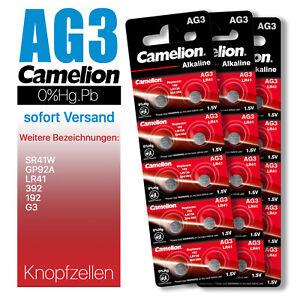 AG3 LR41 G3 192 SR41W GP92A 392 Camelion Knopfzelle Batterie MHD bis 10-2025