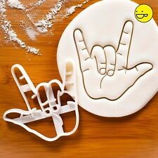 I Love You Hand Gesture cookie cutter - ILY sign language Valentines Day wedding