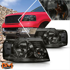 For 04-08 Ford F150 Pickup Smoked Housing Headlight Clear Side Corner Lamps Pair