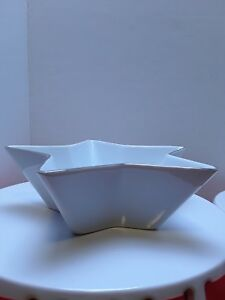 ST. NICHOLAS SQUARE 8 INCH WHITE PORCELAIN STAR SHAPED CANDY DISH, Dip, nuts