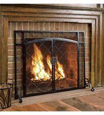 "Metal Fireplace Screen Black w 2 Magnetic Doors Flat Celtic Accent 44"" x 33"""