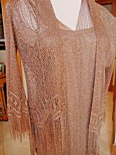 NEW$1.5K DAMIANOU 2pcLined GOWN DRESS & COVER Wedding Evening S M Bronze metalli