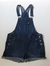Lei Dark Blue Denim Jean Overalls Summer Shorts Women's Sz L 100% Cotton