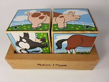 Melissa & Doug Farm Sound Stacking Blocks Wooden 6 in 1 Puzzle with Wooden Tray