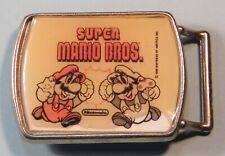 1986 Nintendo Super Mario Bros. Mario & Luigi Belt Buckle Lee Jeans NES era RARE