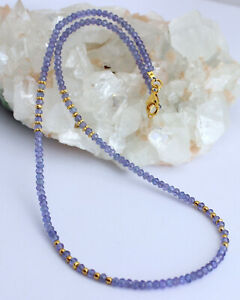 Tanzanite Necklace Gemstone Faceted Rondelle Blue Silver Approx. 18 1/8in