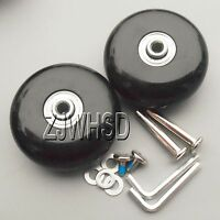 """Luggage Suitcase Replacement Wheels OD 64 (2.52"""") ID 6 W 28 Axles 35  Repair Set"""