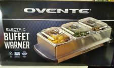 Ovente Electric Buffet Server Three Sectional Food Warmer Tray Silver