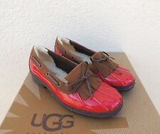 UGG HAYLIE RED WATER-PROOF PATENT LEATHER DUCK SHOES LOAFERS, US 10/ EUR 41 ~NIB