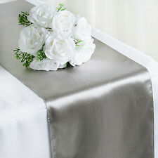 """Silver SATIN 12x108"""" Table RUNNER Wedding Party Catering Dinner Decorations SALE"""
