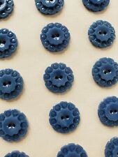"Vintage Buttons - 24 Denim Blue 2-hole Casein Carved 5/8"" Flower Buttons"