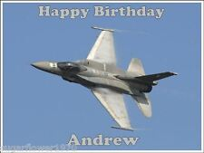 Personalised F16 Fighter Jet Plane Edible Icing Birthday Cake Topper A4